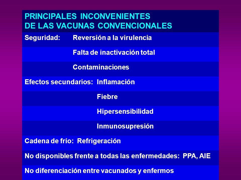 PRINCIPALES INCONVENIENTES DE LAS VACUNAS CONVENCIONALES Seguridad: Reversión a la virulencia Falta de inactivación total Contaminaciones Efectos secu