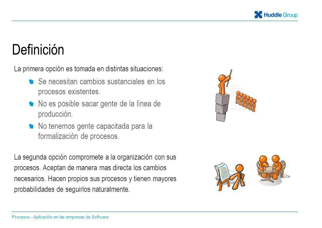 Definición Procesos - Aplicación en las empresas de Software La primera opción es tomada en distintas situaciones: Se necesitan cambios sustanciales e