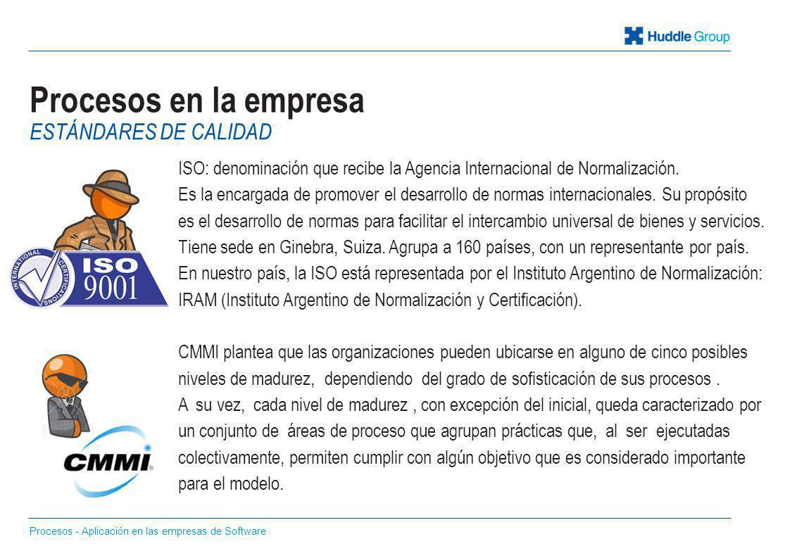 Procesos en la empresa ISO: denominación que recibe la Agencia Internacional de Normalización. Es la encargada de promover el desarrollo de normas int