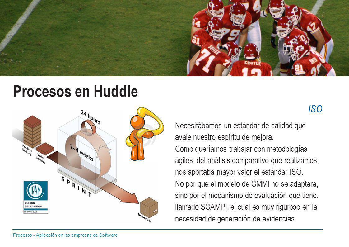 Procesos en Huddle Necesitábamos un estándar de calidad que avale nuestro espíritu de mejora. Como queríamos trabajar con metodologías ágiles, del aná