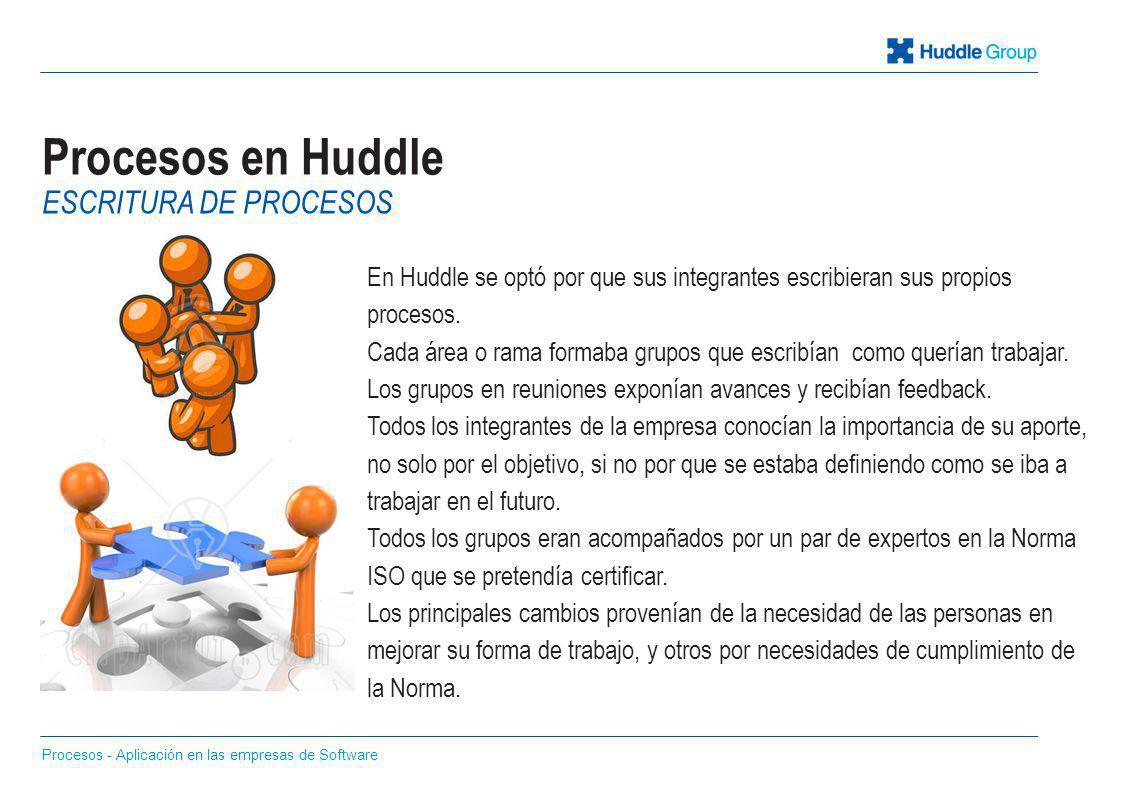 Procesos en Huddle En Huddle se optó por que sus integrantes escribieran sus propios procesos. Cada área o rama formaba grupos que escribían como quer