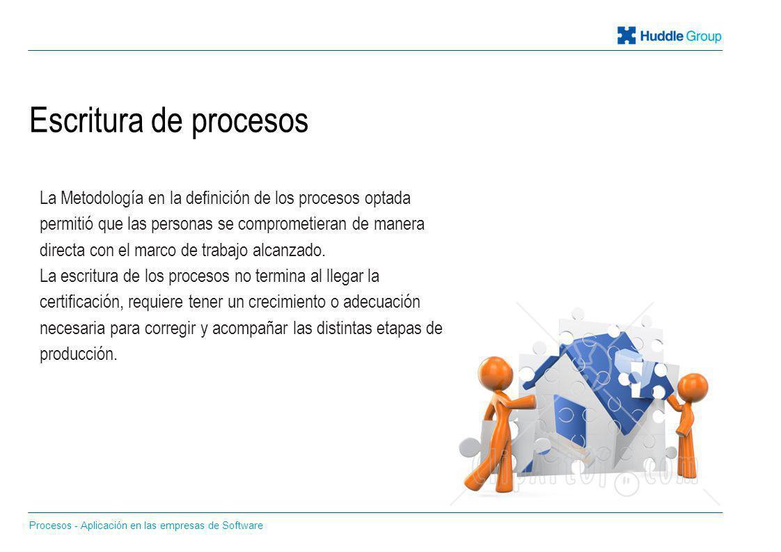 Escritura de procesos Procesos - Aplicación en las empresas de Software La Metodología en la definición de los procesos optada permitió que las person