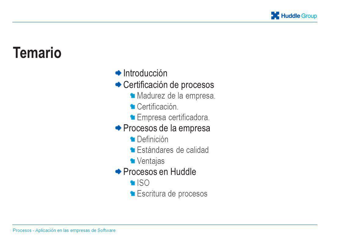 Introducción Certificación de procesos Madurez de la empresa. Certificación. Empresa certificadora. Procesos de la empresa Definición Estándares de ca