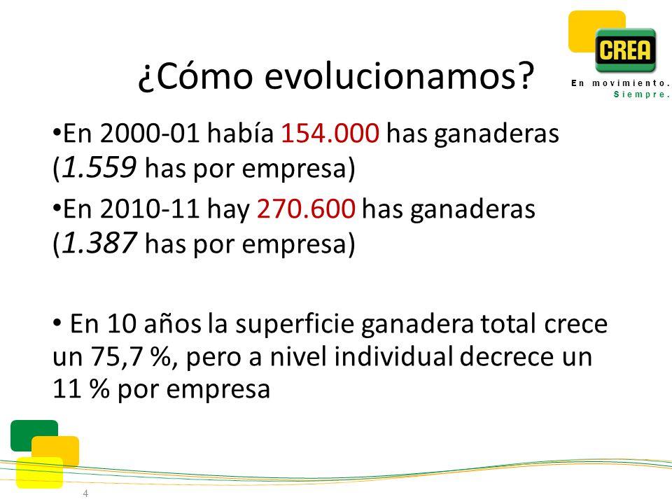 ¿Cómo evolucionamos? En 2000-01 había 154.000 has ganaderas ( 1.559 has por empresa) En 2010-11 hay 270.600 has ganaderas ( 1.387 has por empresa) En