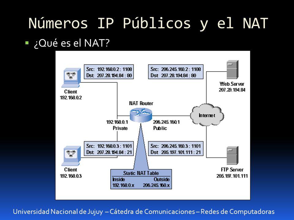 Universidad Nacional de Jujuy – Cátedra de Comunicaciones – Redes de Computadoras ¿Qué es el NAT.