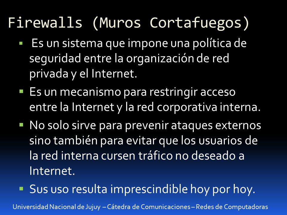 Universidad Nacional de Jujuy – Cátedra de Comunicaciones – Redes de Computadoras VPN: Virtual Private Network Una VPN permite crear una conexión segura entre dos redes usando una vinculación no segura como internet.