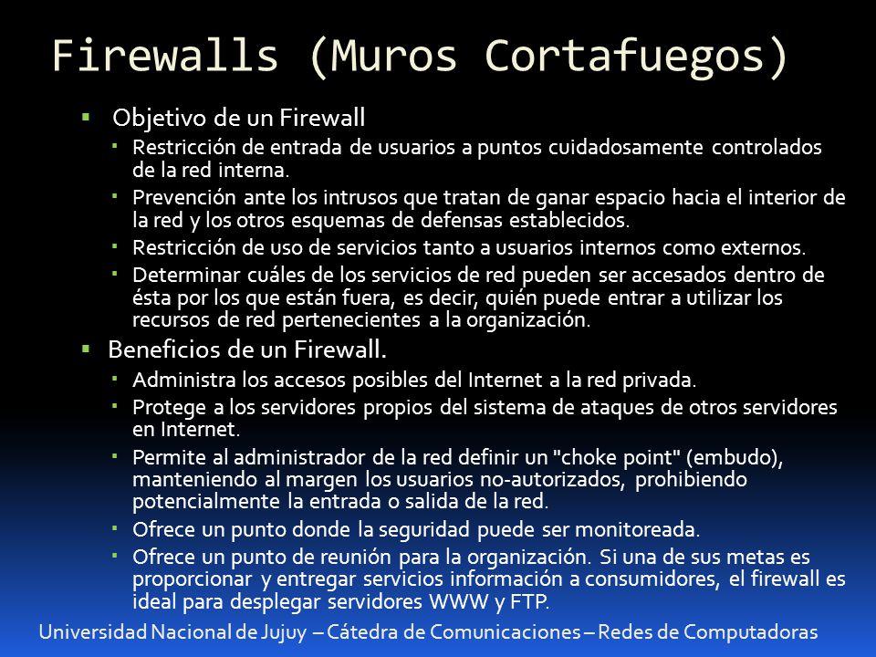 Universidad Nacional de Jujuy – Cátedra de Comunicaciones – Redes de Computadoras Objetivo de un Firewall Restricción de entrada de usuarios a puntos cuidadosamente controlados de la red interna.