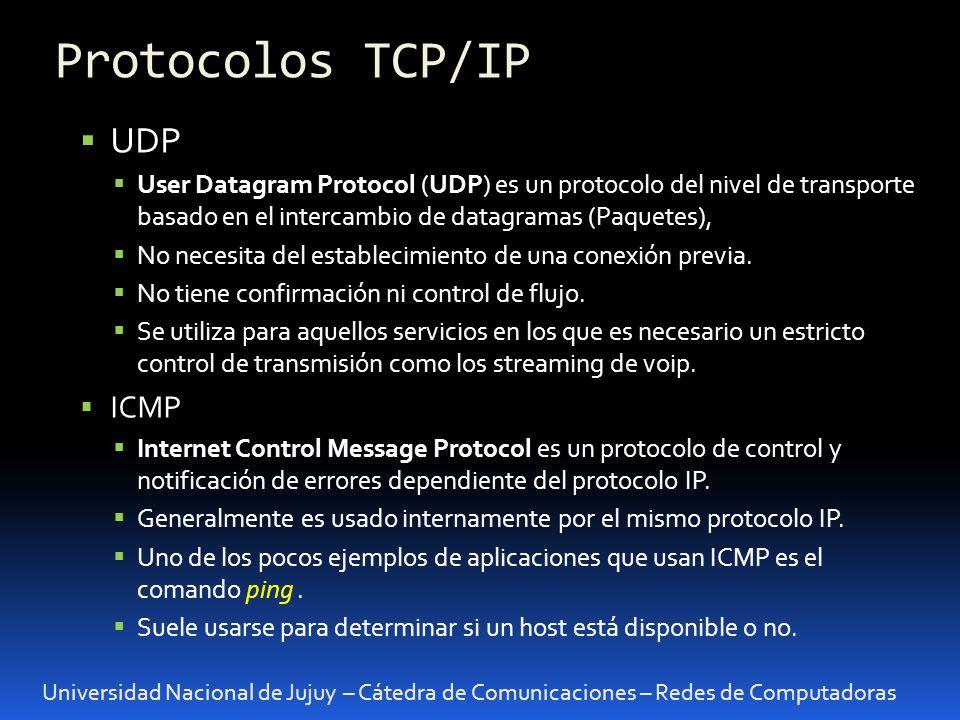 Universidad Nacional de Jujuy – Cátedra de Comunicaciones – Redes de Computadoras UDP User Datagram Protocol (UDP) es un protocolo del nivel de transporte basado en el intercambio de datagramas (Paquetes), No necesita del establecimiento de una conexión previa.