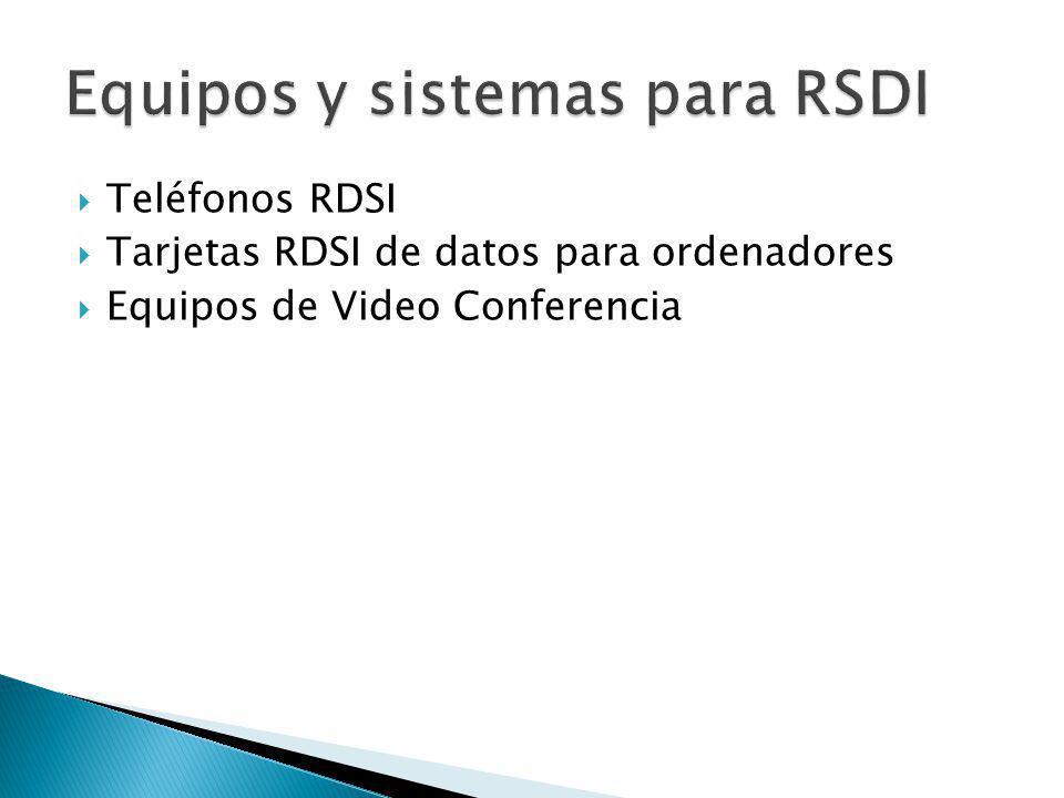 Teléfonos RDSI Tarjetas RDSI de datos para ordenadores Equipos de Video Conferencia