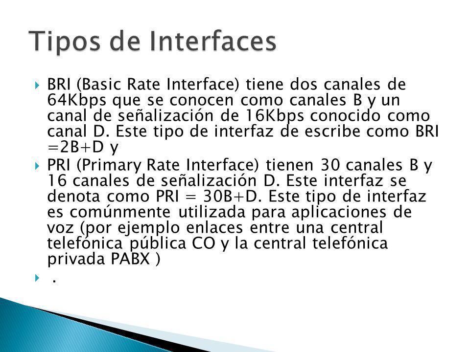 BRI (Basic Rate Interface) tiene dos canales de 64Kbps que se conocen como canales B y un canal de señalización de 16Kbps conocido como canal D. Este
