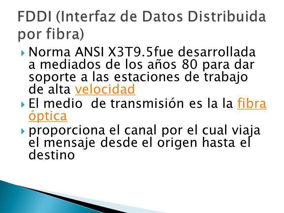 Norma ANSI X3T9.5fue desarrollada a mediados de los años 80 para dar soporte a las estaciones de trabajo de alta velocidadvelocidad El medio de transm