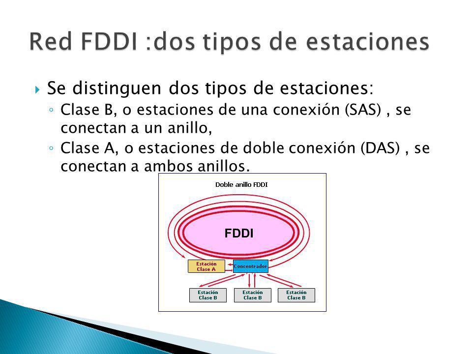 Se distinguen dos tipos de estaciones: Clase B, o estaciones de una conexión (SAS), se conectan a un anillo, Clase A, o estaciones de doble conexión (