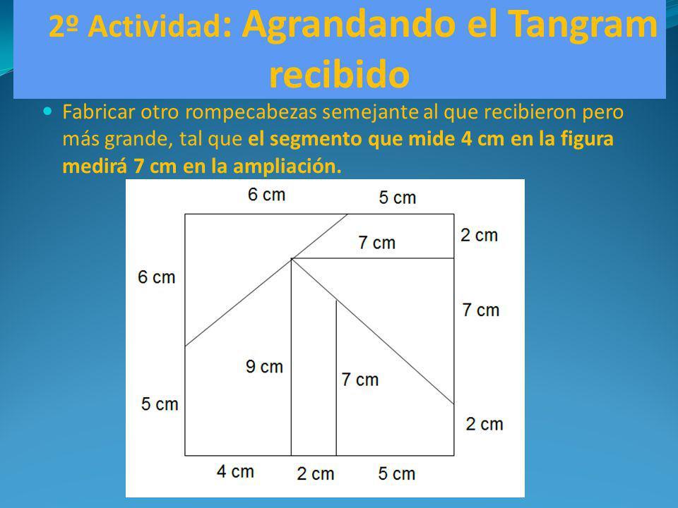 2º Actividad : Agrandando el Tangram recibido Fabricar otro rompecabezas semejante al que recibieron pero más grande, tal que el segmento que mide 4 c