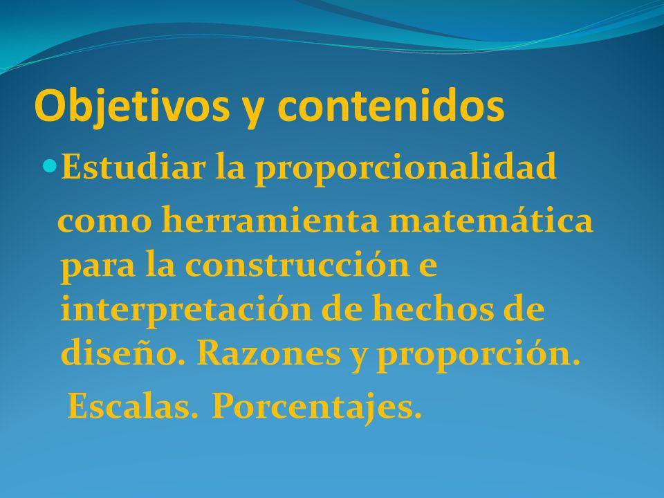 Objetivos y contenidos Estudiar la proporcionalidad como herramienta matemática para la construcción e interpretación de hechos de diseño. Razones y p