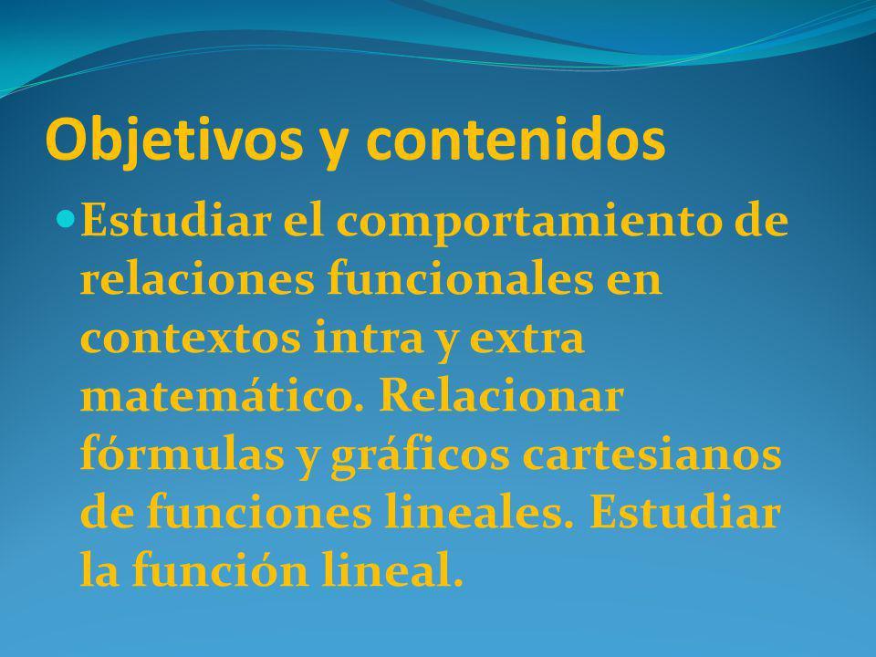 Objetivos y contenidos Estudiar el comportamiento de relaciones funcionales en contextos intra y extra matemático. Relacionar fórmulas y gráficos cart