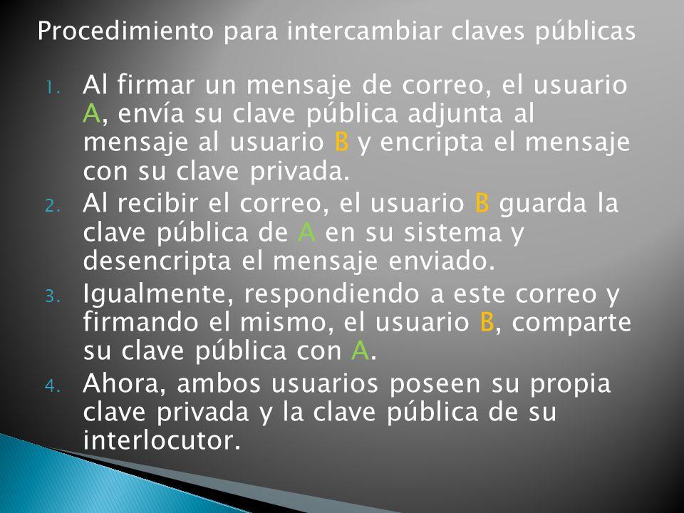 Procedimiento para intercambiar claves públicas 1. Al firmar un mensaje de correo, el usuario A, envía su clave pública adjunta al mensaje al usuario