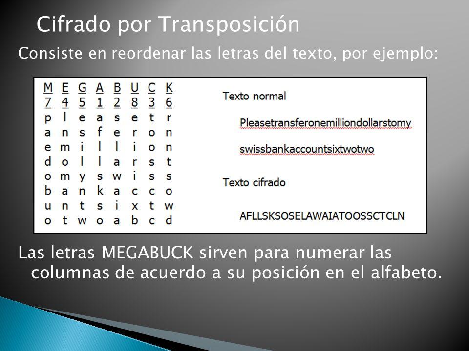 Cifrado por Transposición Consiste en reordenar las letras del texto, por ejemplo: Las letras MEGABUCK sirven para numerar las columnas de acuerdo a s