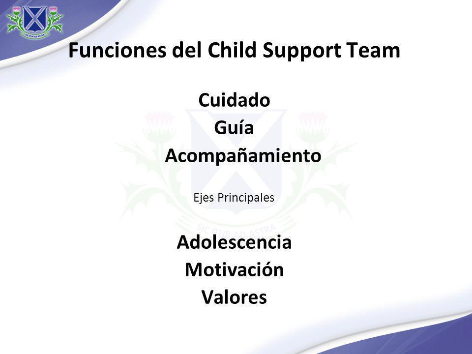 Funciones del Child Support Team Cuidado Guía Acompañamiento Ejes Principales Adolescencia Motivación Valores