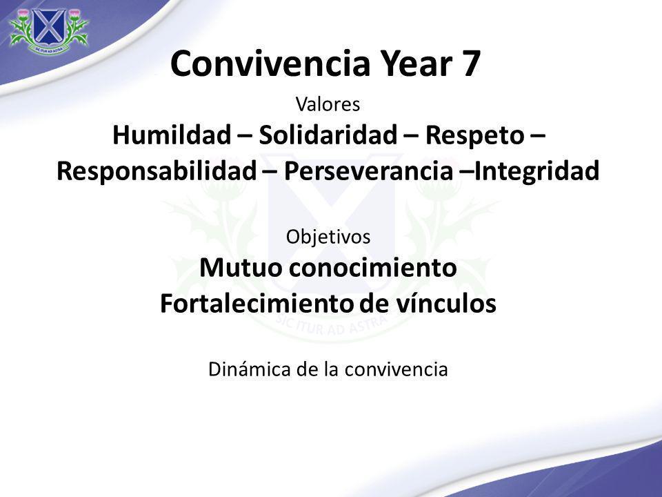 Convivencia Year 7 Valores Humildad – Solidaridad – Respeto – Responsabilidad – Perseverancia –Integridad Objetivos Mutuo conocimiento Fortalecimiento de vínculos Dinámica de la convivencia