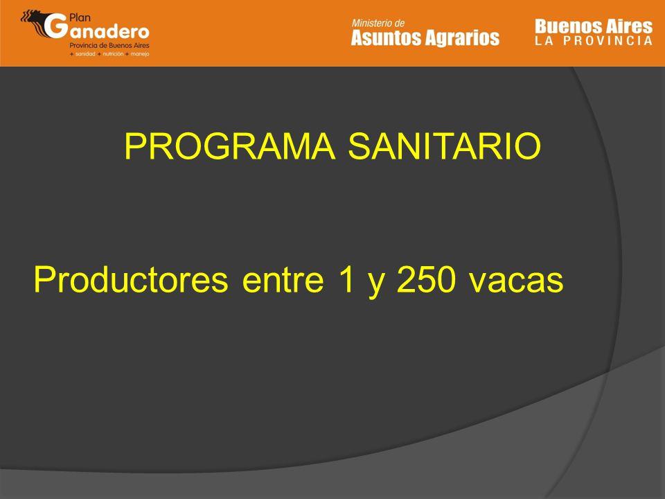 PROGRAMA SANITARIO Productores entre 1 y 250 vacas