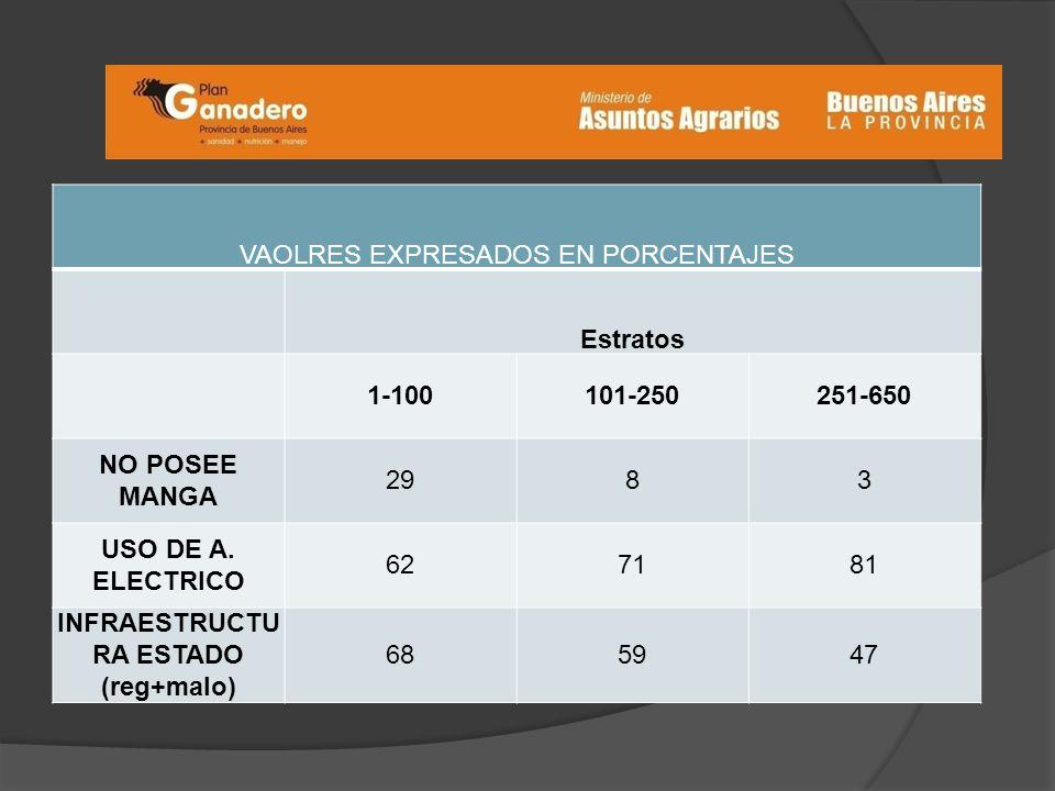 VAOLRES EXPRESADOS EN PORCENTAJES Estratos 1-100101-250251-650 NO POSEE MANGA 2983 USO DE A.