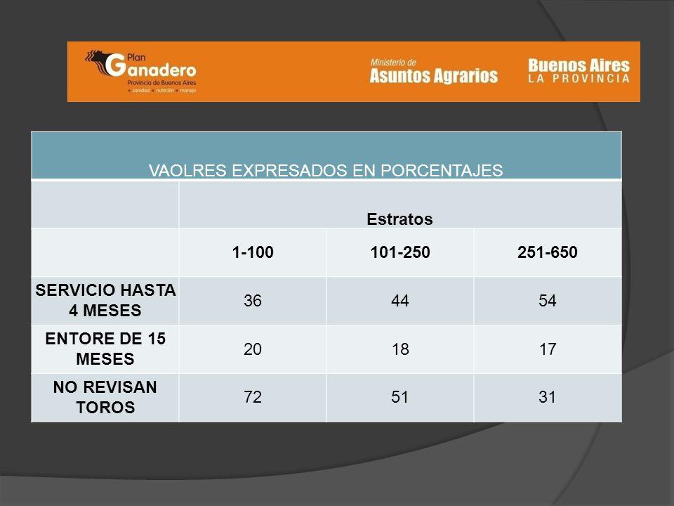 VAOLRES EXPRESADOS EN PORCENTAJES Estratos 1-100101-250251-650 SERVICIO HASTA 4 MESES 364454 ENTORE DE 15 MESES 201817 NO REVISAN TOROS 725131