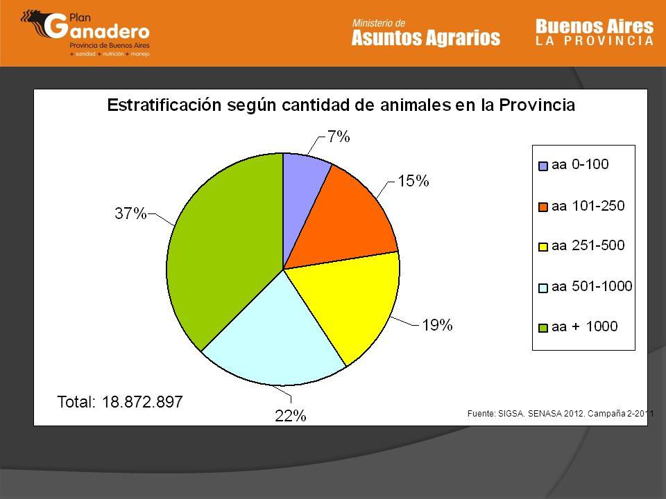 Total: 18.872.897 Fuente: SIGSA. SENASA 2012. Campaña 2-2011