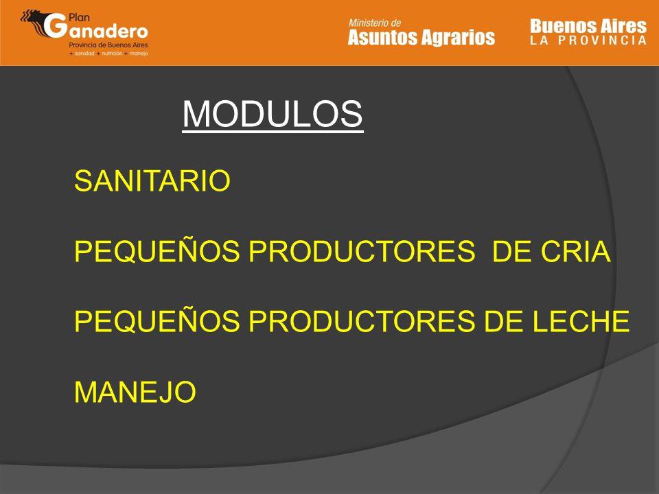 MODULOS SANITARIO PEQUEÑOS PRODUCTORES DE CRIA PEQUEÑOS PRODUCTORES DE LECHE MANEJO