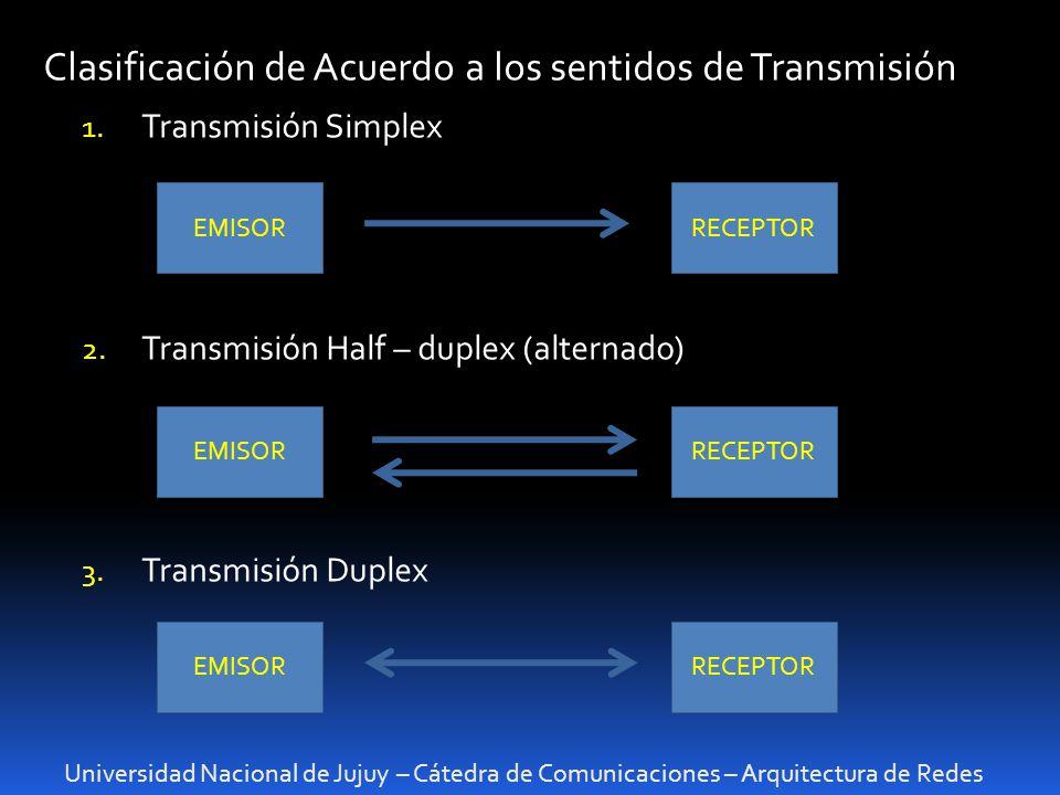 Universidad Nacional de Jujuy – Cátedra de Comunicaciones – Arquitectura de Redes Clasificación de Acuerdo a los sentidos de Transmisión 1. Transmisió