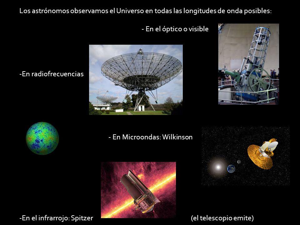 Los astrónomos observamos el Universo en todas las longitudes de onda posibles: - En el óptico o visible -En radiofrecuencias - En Microondas: Wilkins