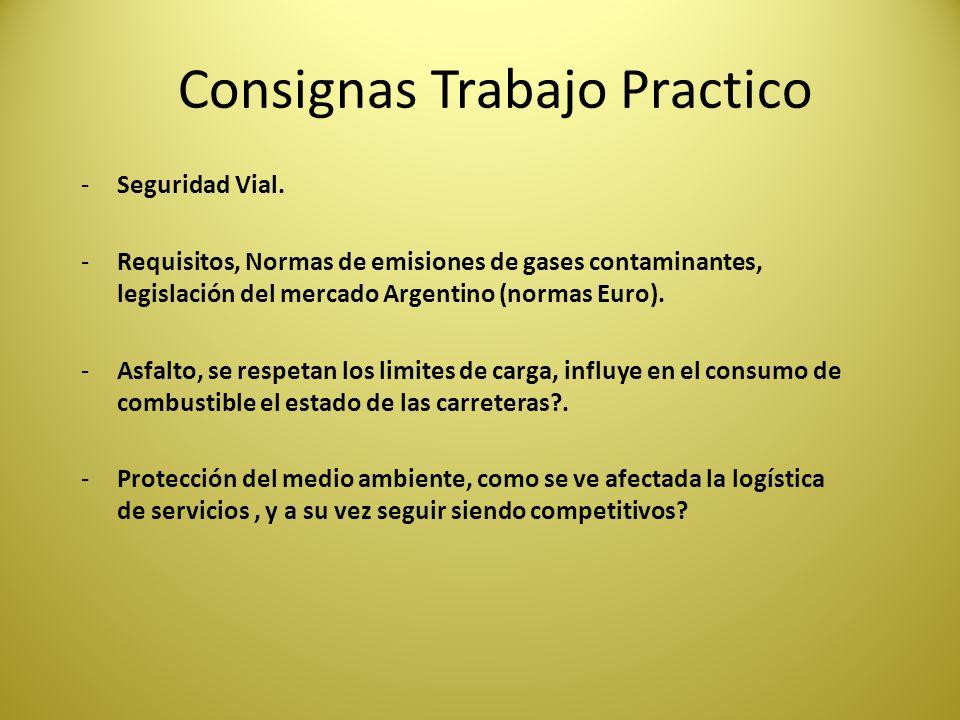 Consignas Trabajo Practico -Seguridad Vial. -Requisitos, Normas de emisiones de gases contaminantes, legislación del mercado Argentino (normas Euro).