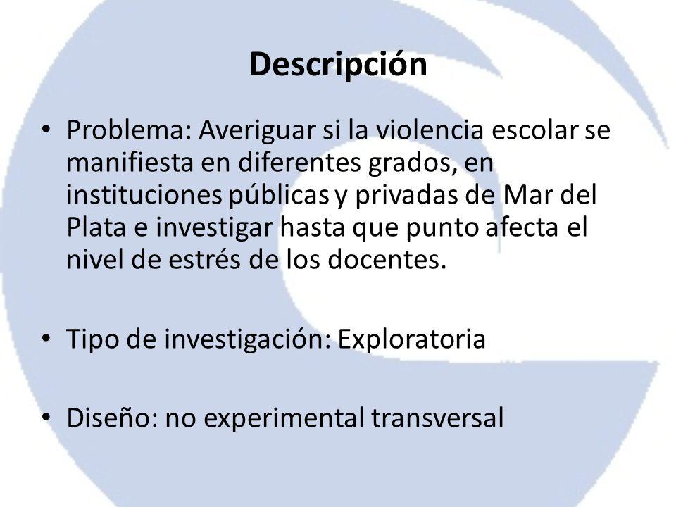 Descripción Problema: Averiguar si la violencia escolar se manifiesta en diferentes grados, en instituciones públicas y privadas de Mar del Plata e in