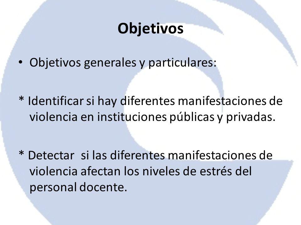 Objetivos Objetivos generales y particulares: * Identificar si hay diferentes manifestaciones de violencia en instituciones públicas y privadas. * Det