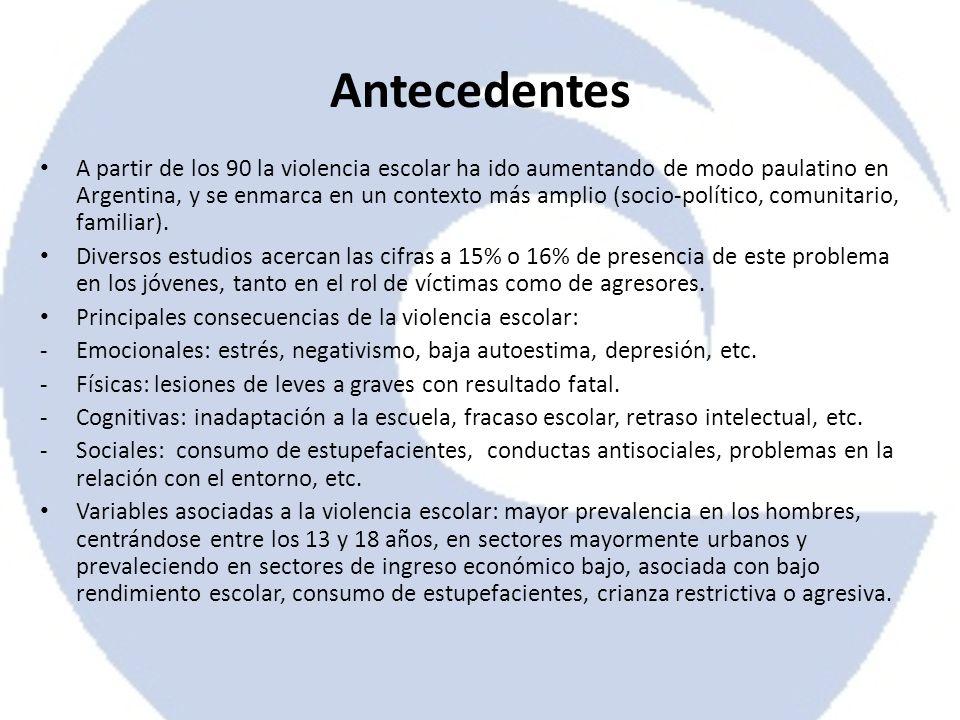 Antecedentes A partir de los 90 la violencia escolar ha ido aumentando de modo paulatino en Argentina, y se enmarca en un contexto más amplio (socio-p