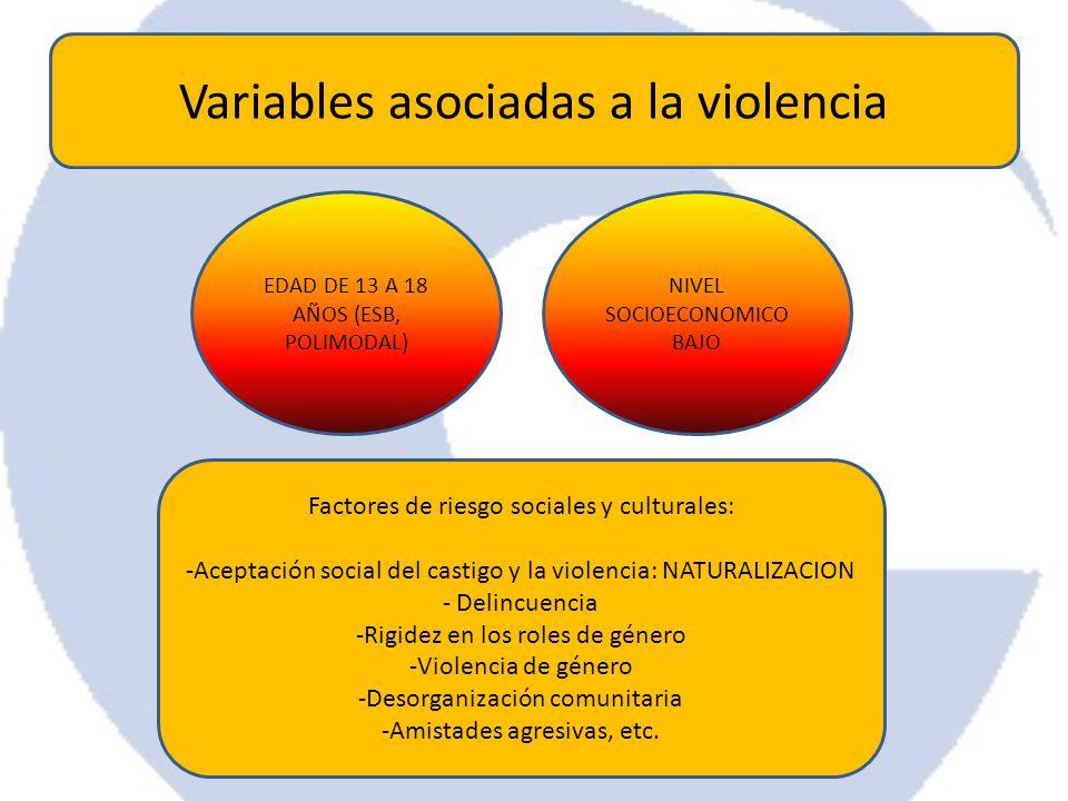 Variables asociadas a la violencia EDAD DE 13 A 18 AÑOS (ESB, POLIMODAL) NIVEL SOCIOECONOMICO BAJO Factores de riesgo sociales y culturales: -Aceptaci