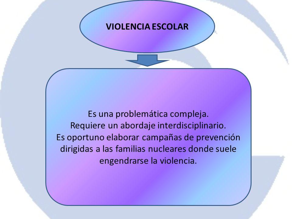 VIOLENCIA ESCOLAR Es una problemática compleja. Requiere un abordaje interdisciplinario. Es oportuno elaborar campañas de prevención dirigidas a las f