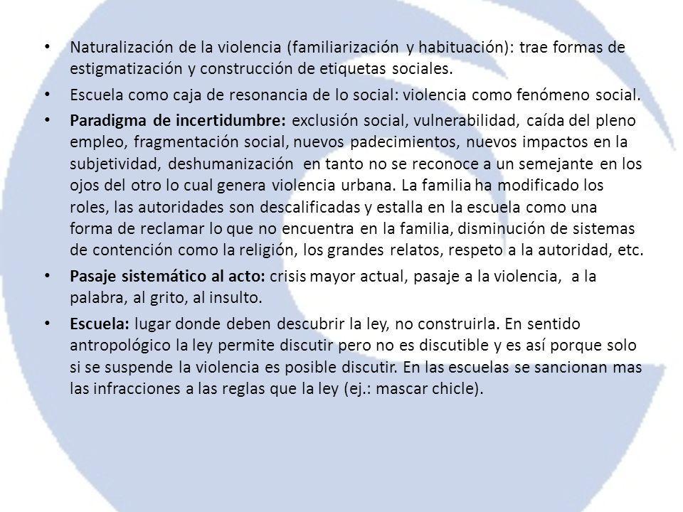 Naturalización de la violencia (familiarización y habituación): trae formas de estigmatización y construcción de etiquetas sociales. Escuela como caja