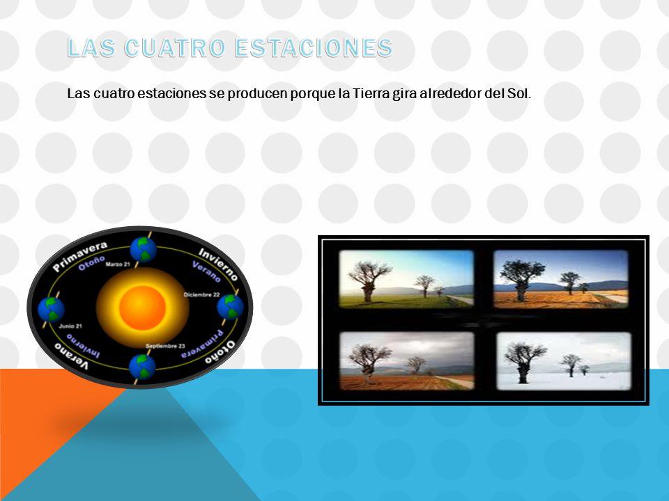 Las cuatro estaciones se producen porque la Tierra gira alrededor del Sol.