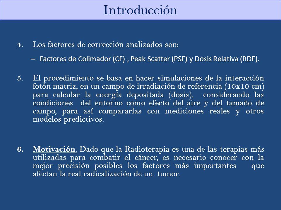 4.Los factores de corrección analizados son: – Factores de Colimador (CF), Peak Scatter (PSF) y Dosis Relativa (RDF). 5.El procedimiento se basa en ha