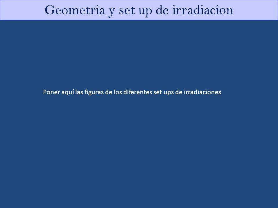Geometria y set up de irradiacion Poner aquí las figuras de los diferentes set ups de irradiaciones