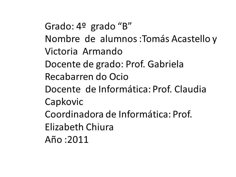 Grado: 4º grado B Nombre de alumnos :Tomás Acastello y Victoria Armando Docente de grado: Prof.