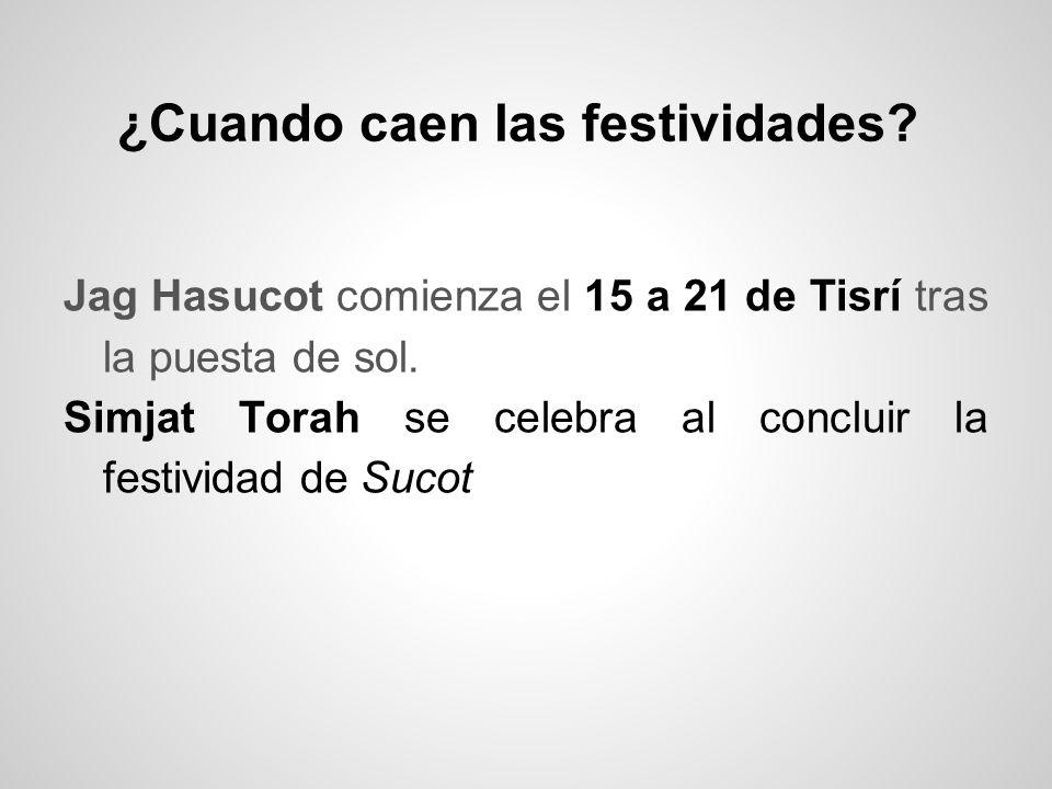 ¿Cuando caen las festividades? Jag Hasucot comienza el 15 a 21 de Tisrí tras la puesta de sol. Simjat Torah se celebra al concluir la festividad de Su