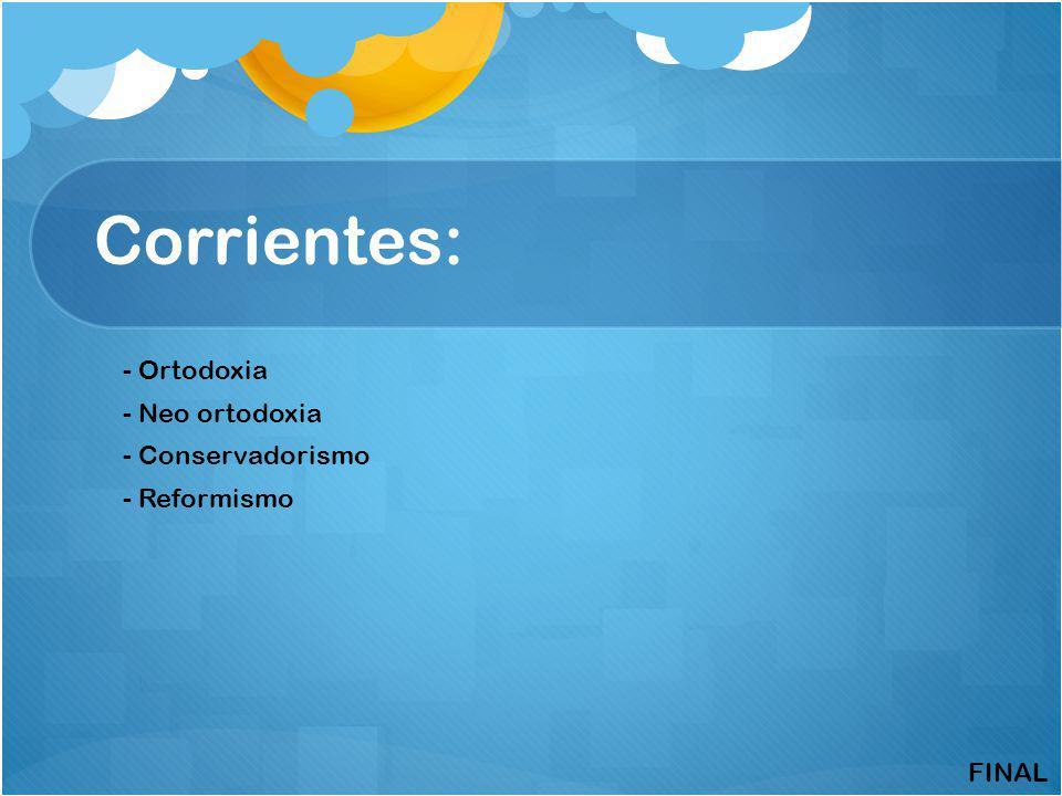 Corrientes: - Ortodoxia - Neo ortodoxia - Conservadorismo - Reformismo FINAL