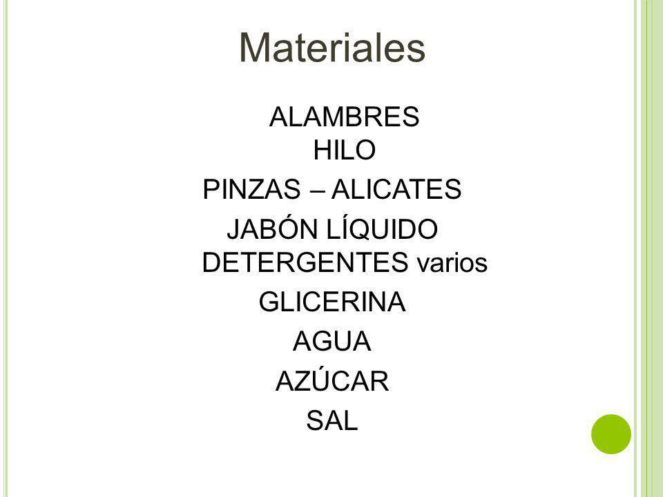 Materiales ALAMBRES HILO PINZAS – ALICATES JABÓN LÍQUIDO DETERGENTES varios GLICERINA AGUA AZÚCAR SAL