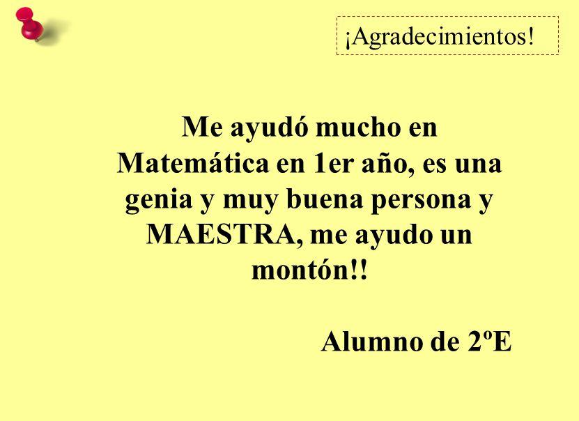 Me ayudó mucho en Matemática en 1er año, es una genia y muy buena persona y MAESTRA, me ayudo un montón!.