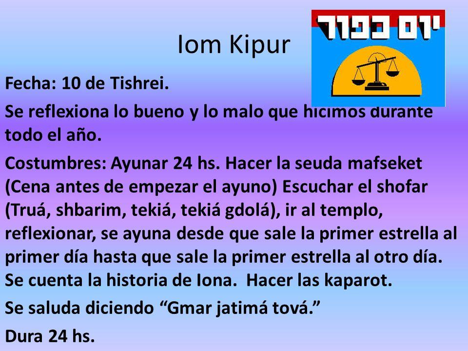 Iom Kipur Fecha: 10 de Tishrei. Se reflexiona lo bueno y lo malo que hicimos durante todo el año. Costumbres: Ayunar 24 hs. Hacer la seuda mafseket (C