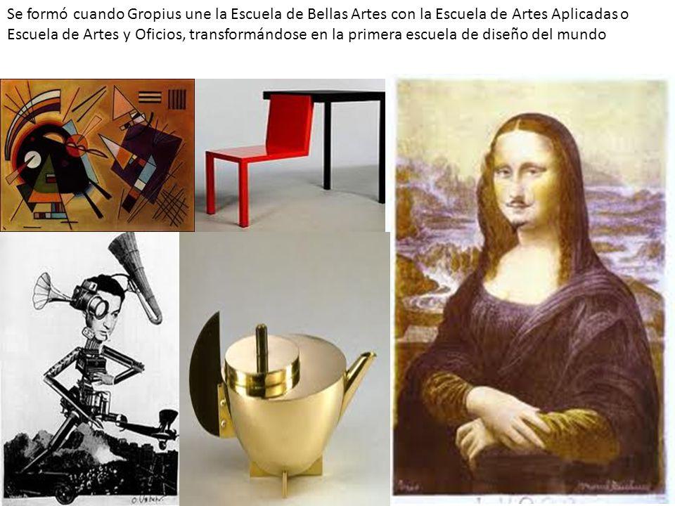 Se formó cuando Gropius une la Escuela de Bellas Artes con la Escuela de Artes Aplicadas o Escuela de Artes y Oficios, transformándose en la primera e