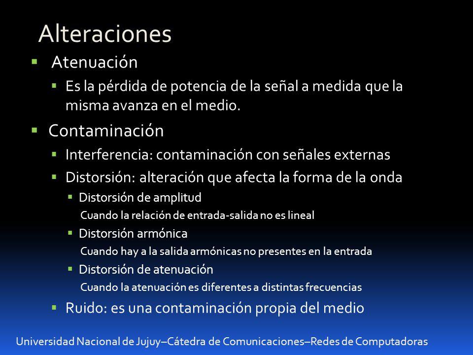 Universidad Nacional de Jujuy–Cátedra de Comunicaciones–Redes de Computadoras Alteraciones Atenuación Es la pérdida de potencia de la señal a medida que la misma avanza en el medio.