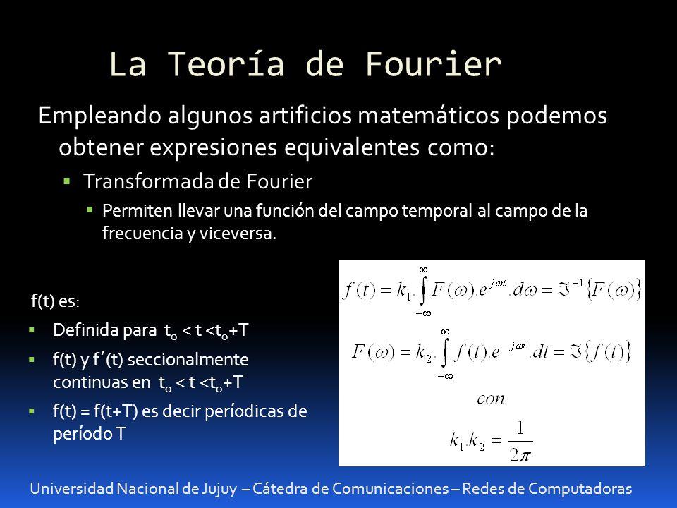 La Teoría de Fourier Universidad Nacional de Jujuy – Cátedra de Comunicaciones – Redes de Computadoras Empleando algunos artificios matemáticos podemos obtener expresiones equivalentes como: Transformada de Fourier Permiten llevar una función del campo temporal al campo de la frecuencia y viceversa.