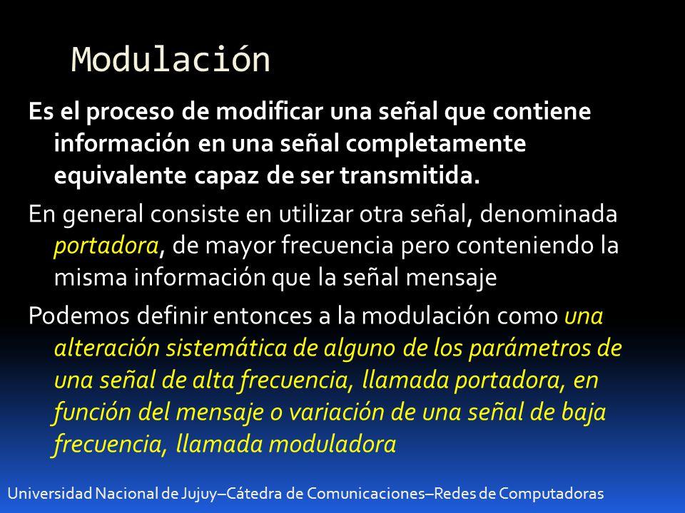 Modulación Universidad Nacional de Jujuy–Cátedra de Comunicaciones–Redes de Computadoras Es el proceso de modificar una señal que contiene información en una señal completamente equivalente capaz de ser transmitida.
